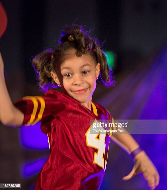 Victoria Collor 5 proudly wears a Redskins jersey at cap at the 3rd Annual Glynn Jackson's ShowBiz Kidz at The Silver Spring Civic Building in Silver...