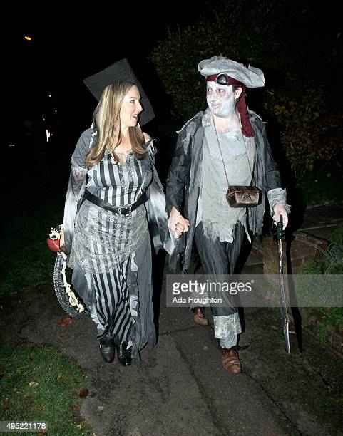 Victoria Coren and David Mitchell seen arriving at Jonathan Ross's halloween party on October 31 2015 in London England