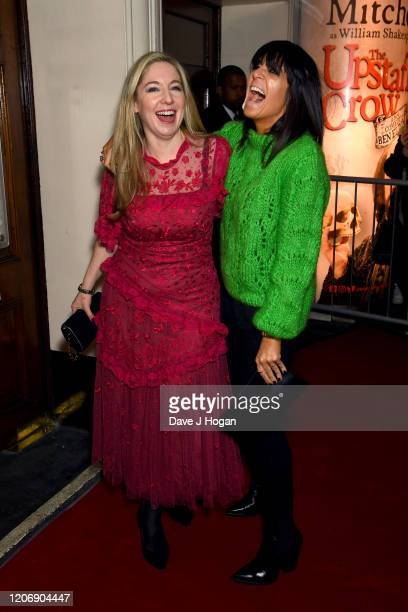 Victoria Coren Mitchell and Claudia Winkleman attend the Upstart Crow press night at the Gielgud Theatre on February 17, 2020 in London, England.