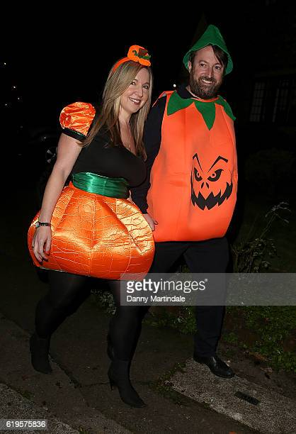 Victoria Coren Mitchell and David Mitchell attends Jonathan Ross's Halloween Party on October 31 2016 in London England