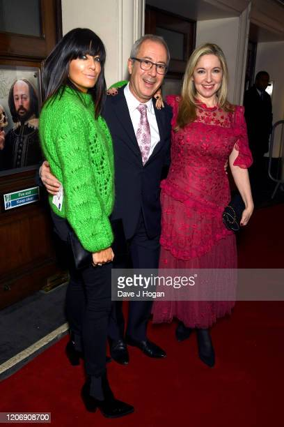 Victoria Coren Mitchell, Ben Elton and Claudia Winkleman attend the Upstart Crow press night at the Gielgud Theatre on February 17, 2020 in London,...