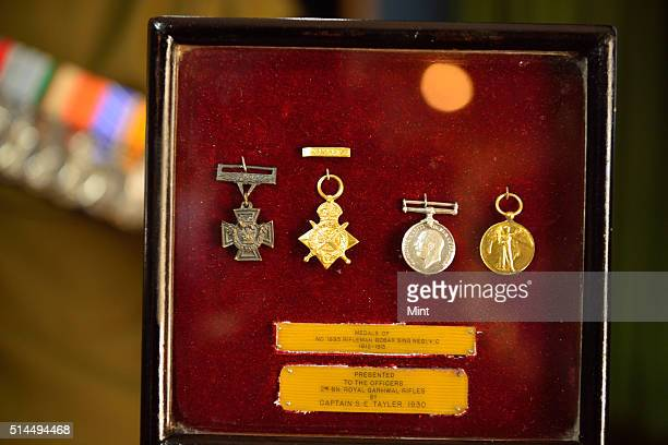 Victoria Cross and other medals won by Rifleman Gabbar Singh Negi displayed during Centenary Celebration of the 2 Garhwal Rifles held in Punjab to...