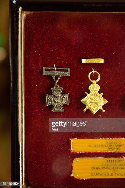 Victoria Cross Medal won by Rifleman Gabbar Singh Negi displayed during Centenary Celebration of the 2 Garhwal Rifles held in Punjab to mark Battle...