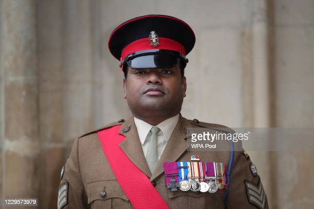 Victoria Cross recipient Johnson Beharry arrives at Westminster Abbey to attend a service to mark Armistice Day and the centenary of the burial of...