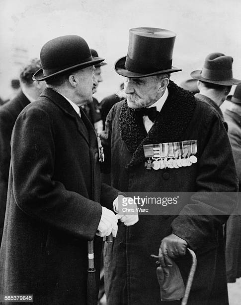 Victoria Cross recipients Sir Ernest Beachcroft Towse and John Vaughan Campbell watching the Duke of Gloucester unveil the Earl Haig statue in...