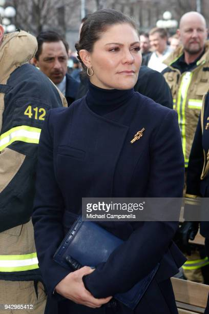 Victoria Crown Princess of Sweden attends a tribute to victims of Stockholm terrorist attack on the first anniversary on April 7 2018 in Stockholm...
