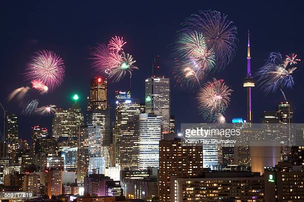 victoria day fireworks, toronto downtown - queen's birthday stock photos and pictures