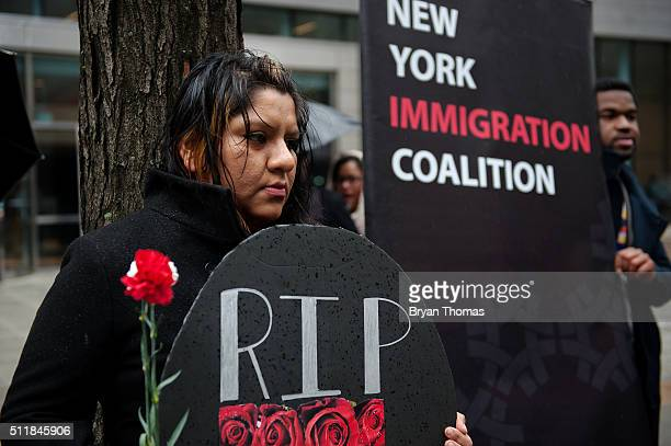 Victoria Daza protests outside of the Immigrations and Customs Enforcement building on February 23 2016 in New York City Daza and other protestors...