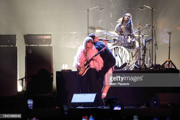Victoria De Angelis and Damiano David of the Maneskin, perform at the Global Citizen Live on September 25, 2021 in Paris, France.