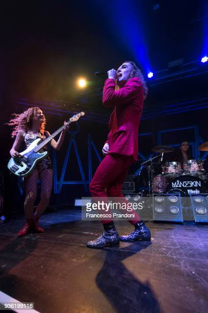 Victoria De Angelis, Damiano David and Ethan Torchio of Maneskin perform on stage at Santeria on March 21, 2018 in Milan, Italy.