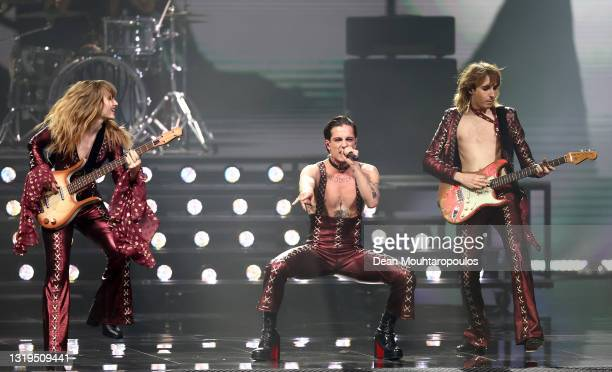 """Victoria De Angelis, Damiano David and Thomas Raggi from Måneskin of Italy perform the song """"Zitti e buoni"""" during the 65th Eurovision Song Contest..."""