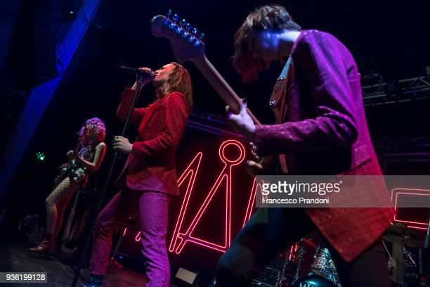Victoria De Angelis, Damiano David and Thomas Raggi of Maneskin perform on stage at Santeria on March 21, 2018 in Milan, Italy.