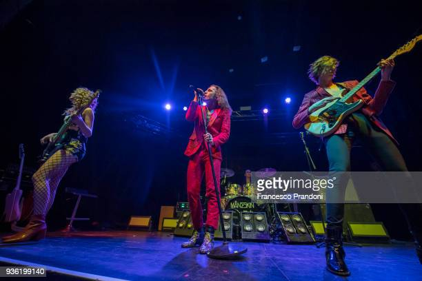 Victoria De Angelis, Damiano David, Ethan Torchio and Thomas Raggi of Maneskin perform on stage at Santeria on March 21, 2018 in Milan, Italy.