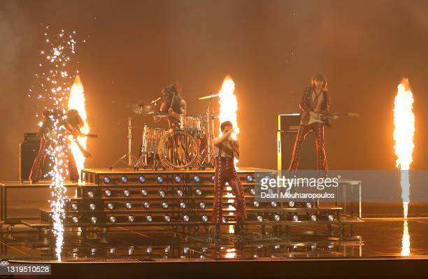 """Victoria De Angelis, Ethan Torchio, Damiano David and Thomas Raggi from Måneskin of Italy perform the song """"Zitti e buoni"""" during the 65th Eurovision..."""