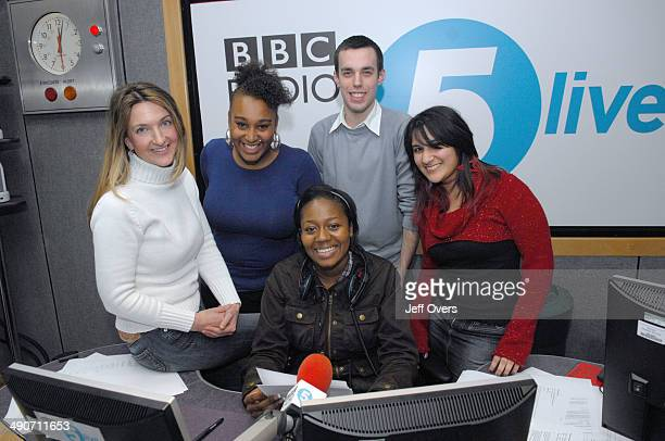 Victoria Derbyshire studio his morning of the presenter with the guest youth presenters ' L to R ' Victoria Derbyshire ' Victoria Derbyshire studio...