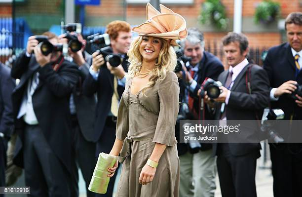 Victoria Du Vin smiles as she has her photograph taken by photographers as she arrives for the Second Day of Royal Ascot on June 18 2008 in Ascot...