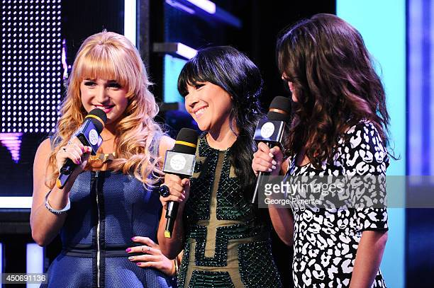 Victoria Duffield MMVA cohost Lauren Toyota and Nikki Yanofsky at the 2014 Much Music Video Awards at Much HQ on June 15 2014 in Toronto Canada