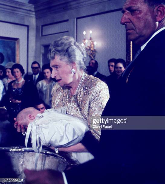 Victoria Eugenia mother of Prince Juan Carlos of Borbon godmother in baptism of Prince Felipe at El Pardo Palace Madrid Spain