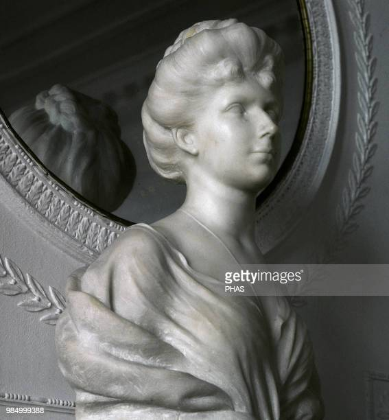 Victoria Eugenie of Battenberg Queen consort of Spain Wife of King Alfonso XIII Bust by Spanish sculptor Mariano Benlliure Magdalena Palace Santander...