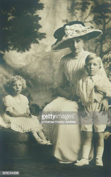 Victoria Eugenie of Battenberg Queen Victoria of Spain through her Marriage to King Alfonso XIII with her Children Alfonso Prince of Asturias Beatriz...