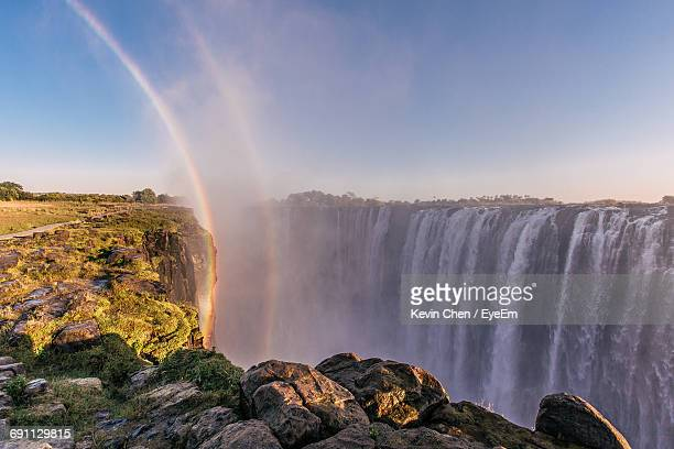 Victoria Falls Against Clear Sky