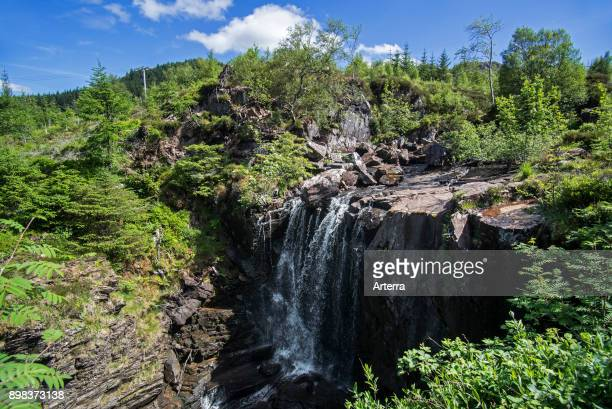 Victoria Falls in Slattadale Forest, waterfall on the Abhainn Garbhaig river flowing to Loch Maree, Wester Ross, Scottish Highlands, Scotland, UK.