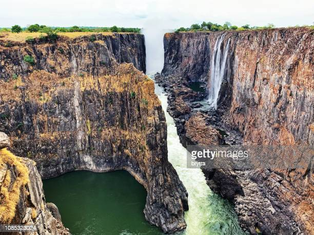 victoria falls seen from the zambian side - zambezi river stock pictures, royalty-free photos & images
