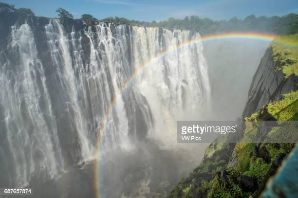 Victoria Falls Waterfall with rainbow.