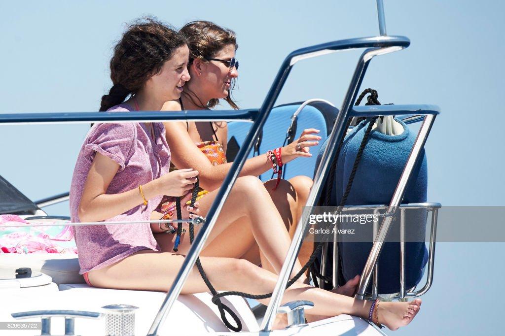 Victoria Federica de Marichalar y Borbon (L) and Mar Torres (R) are seen during the 36th Copa Del Rey Mafre Sailing Cup on August 5, 2017 in Palma de Mallorca, Spain.