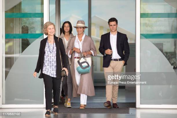Victoria Federica Elena de Borbon queen Sofia of Spain and Felipe Juan Froilán de Marichalar are seen arriving to visit King Juan Carlos at Quiron...