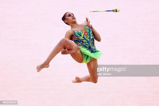 Victoria Filanovski of Israel performs with the clubs during the individual competition of the GAZPROM World Cup Rhythmic Gymnastics at Porsche Arena...