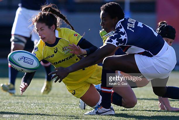 Victoria Folayan of the United States battles for the ball against Alicia Quirk of Australia during the IRB Women's Sevens World Series at Fifth...