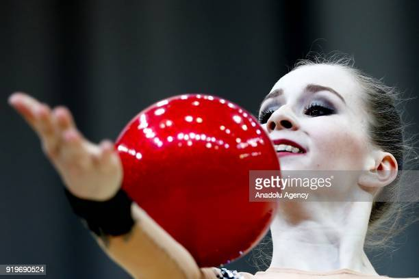 Victoria Fotiieva of Ukraine performs during the 2018 Moscow Rhythmic Gymnastics Grand Prix GAZPROM Cup in Moscow Russia on February 17 2018