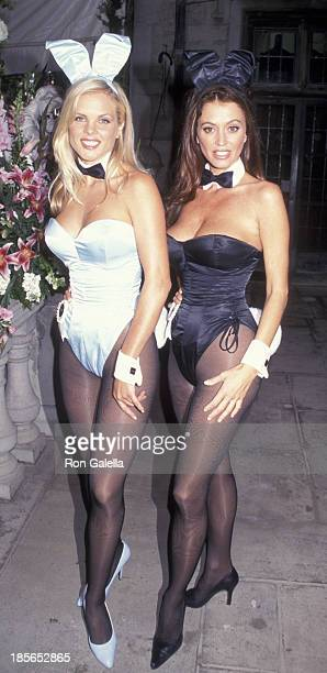Victoria Fuller and Ava Fabian attend Playboy Video Party on December 2, 1999 at the Playboy Mansion in Beverly Hills, California.