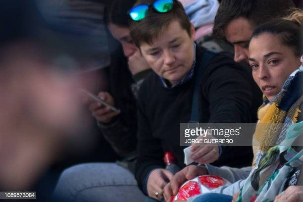 Victoria Garcia the mother of Julen the toddler rescued after falling down a well waits for his son's remains at the undertaker's in the Malaga's...