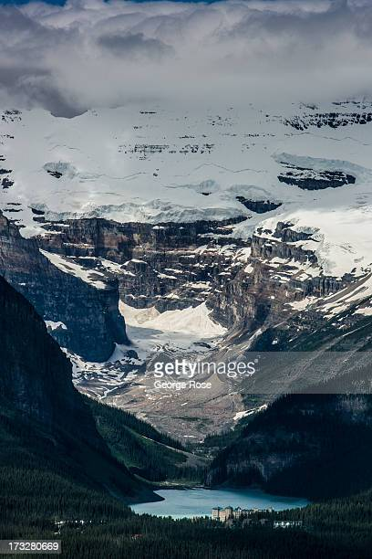 Victoria Glacier and Lake Louise are viewed from the ski gondola observation deck on June 27 2013 in Lake Louise Alberta Canada Major flooding along...