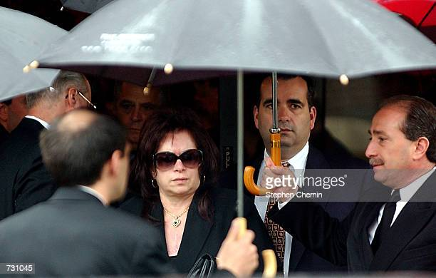 Victoria Gotti widow of mobster John Gotti leaves the Papavero funeral home after a wake held for John Gotti June 14 2002 in the Queens borough of...