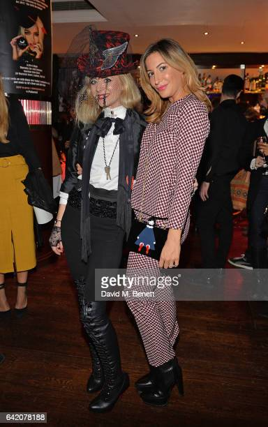 Victoria Grant and Laura Pradelska attend the Victoria Grant x Diana Gomez 'Shoot It Up Knock'em Down' party at the Sanctum Soho on February 16 2017...