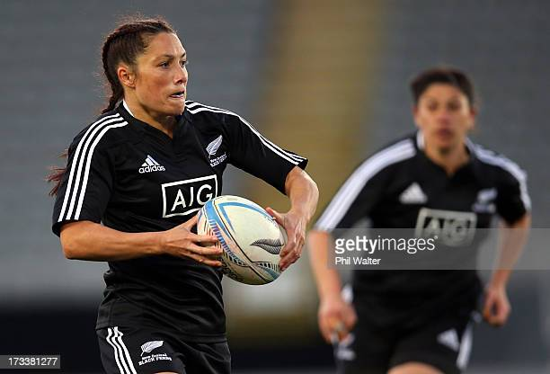 Victoria Grant of the Black Ferns runs the ball during game one of the women's rugby series between New Zealand and England at Eden Park on July 13...