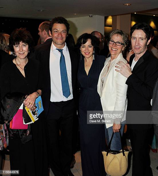 Victoria Gray, Dominic West, Amanda Drew, Penny Downie, and Paul McGann attend an after party following press night of the new West End production of...