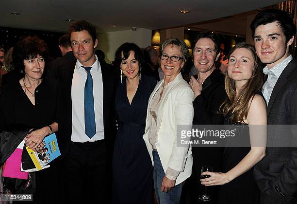 Victoria Gray, Dominic West, Amanda Drew, Penny Downie, Paul McGann, Emma Hiddleston and Cai Brigden attend an after party following press night of...
