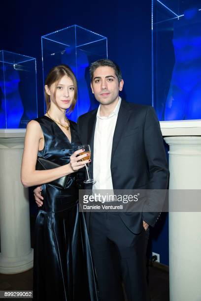 Victoria Gross and Roy Sebag attend Galerie Gmurzynska Hosts Diana WidmaierPicasso in Celebration of Mene 24K and Yves Klein on December 27 2017 in...