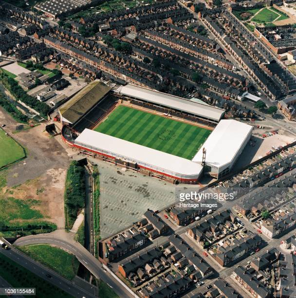 Victoria Ground StokeonTrent 1992 Aerial view of the former home of Stoke City Football Club The club moved to its current home ground the Britannia...