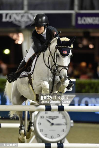 Victoria Gulliksen riding Deville of Norway during Longines FEI Jumping Nations Cup Final Challenge Cup on October 5 2019 in Barcelona Spain