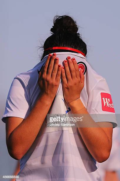 Victoria Guzman of the Wanderers looks dejected after losing the round four WLeague match between Western Sydney and Perth Glory at Marconi Stadium...