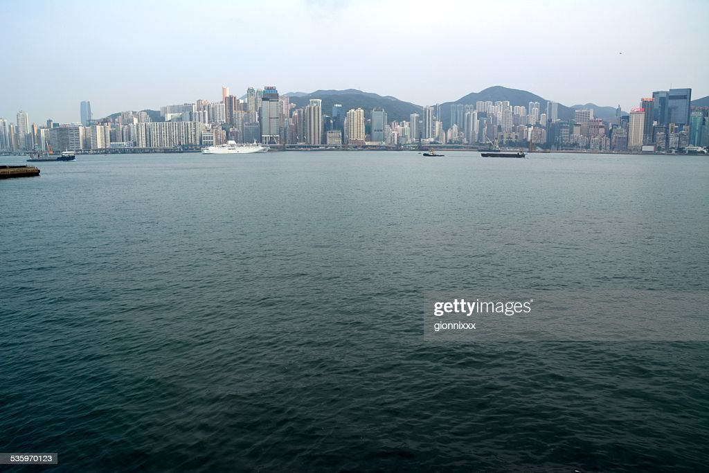 Victoria Harbour and Hong Kong island skyline : Stock Photo