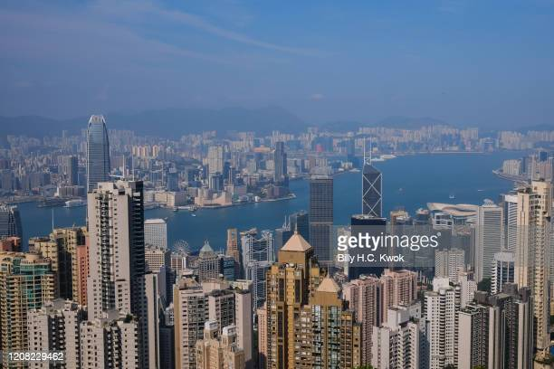 Victoria harbour is seen from the peak during a coronavirus outbreak on March 26 2020 in Hong Kong China Latest statistics showed Hong Kong tourist...