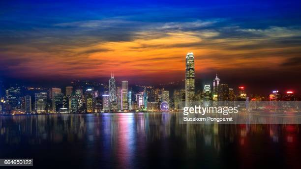Victoria harbour skyline at night in Hong Kong