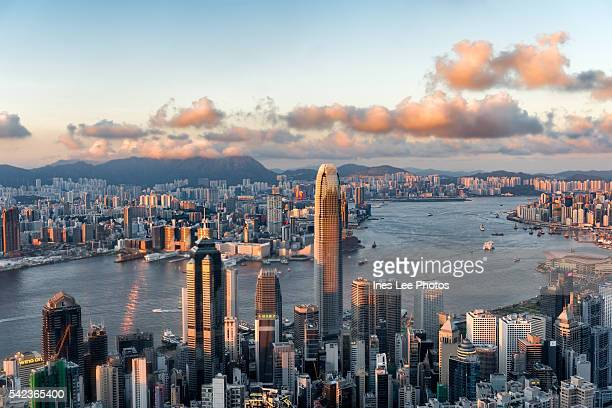 victoria harbour, victoria bay hong kong, china - two international finance center stock pictures, royalty-free photos & images