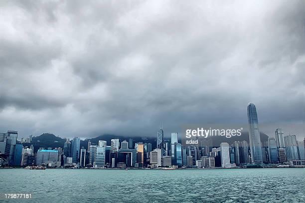 Victoria Harbour with typhoon